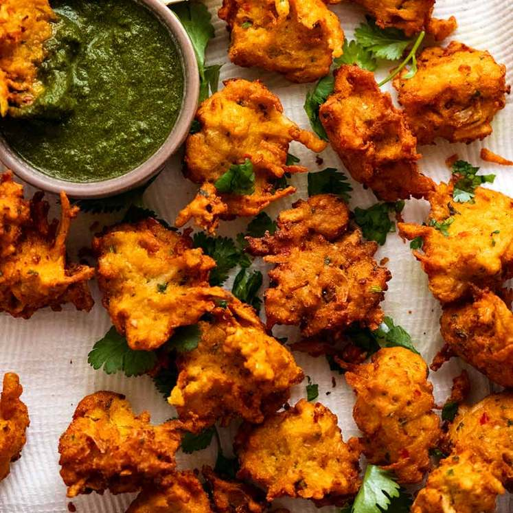 Tray of freshly cooked Pakora ready to be served