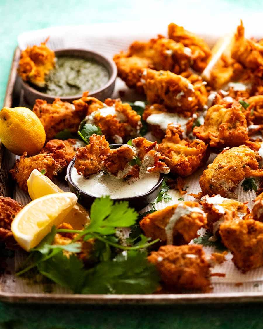 Tray of freshly cooked Pakora