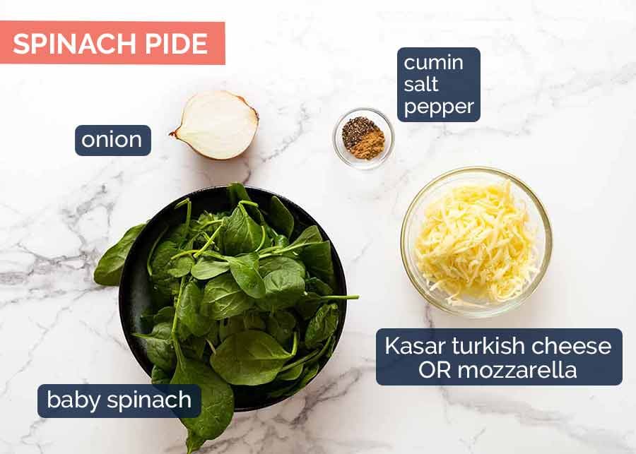 Ingredients in Spinach Pide topping