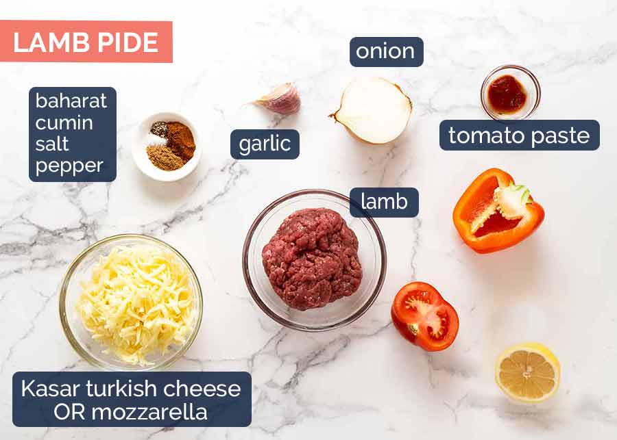 Ingredients in Lamb Pide topping
