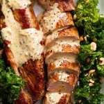 Close up of Pork Tenderloin with Creamy Mustard Sauce