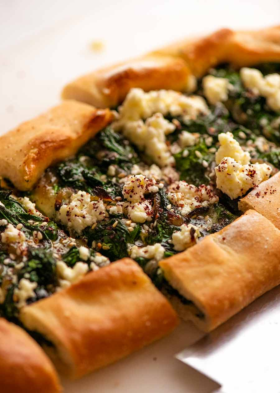 Freshly cooked Spinach Pide ready to be eaten