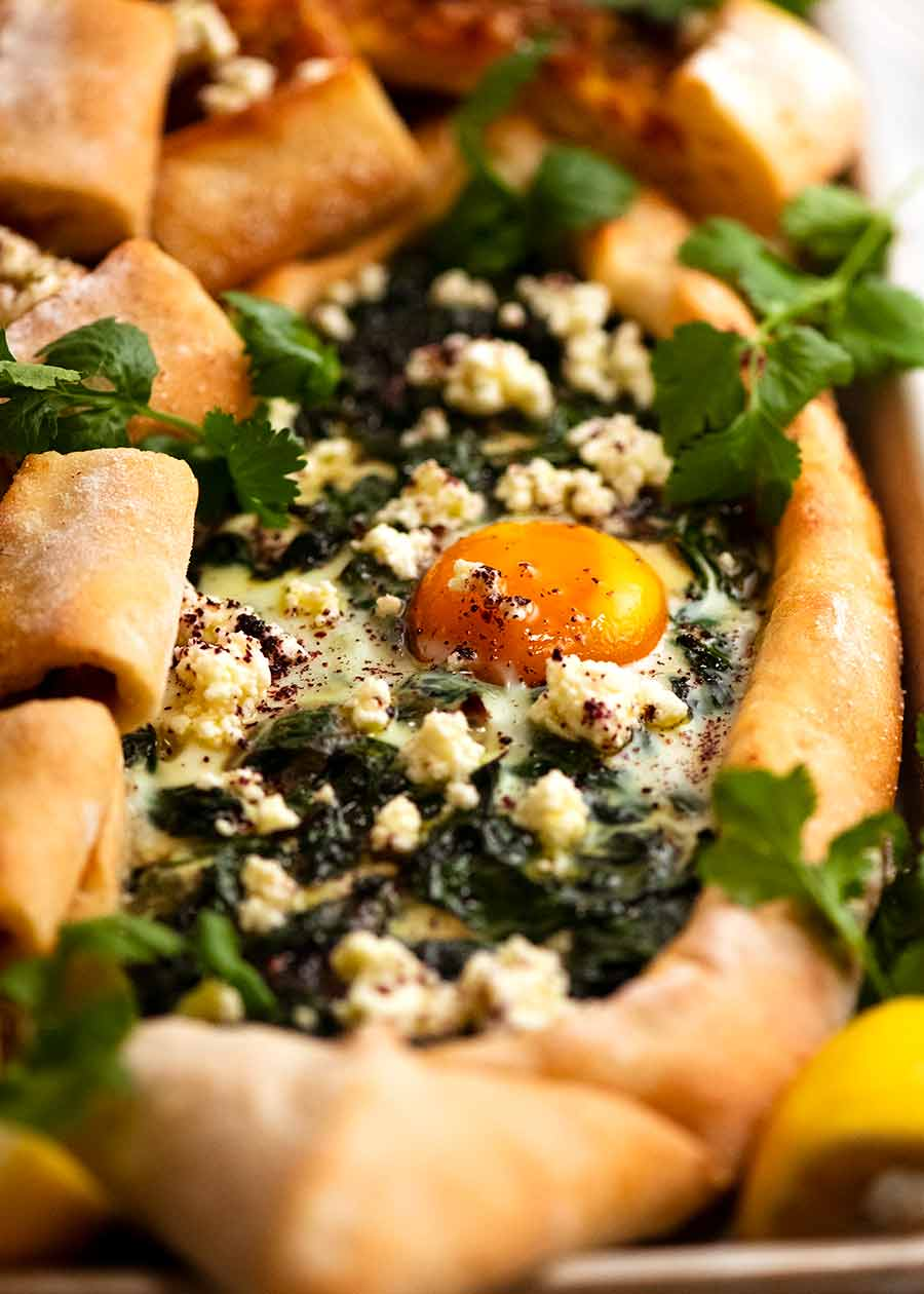 Close up of Spinach Pide with Egg