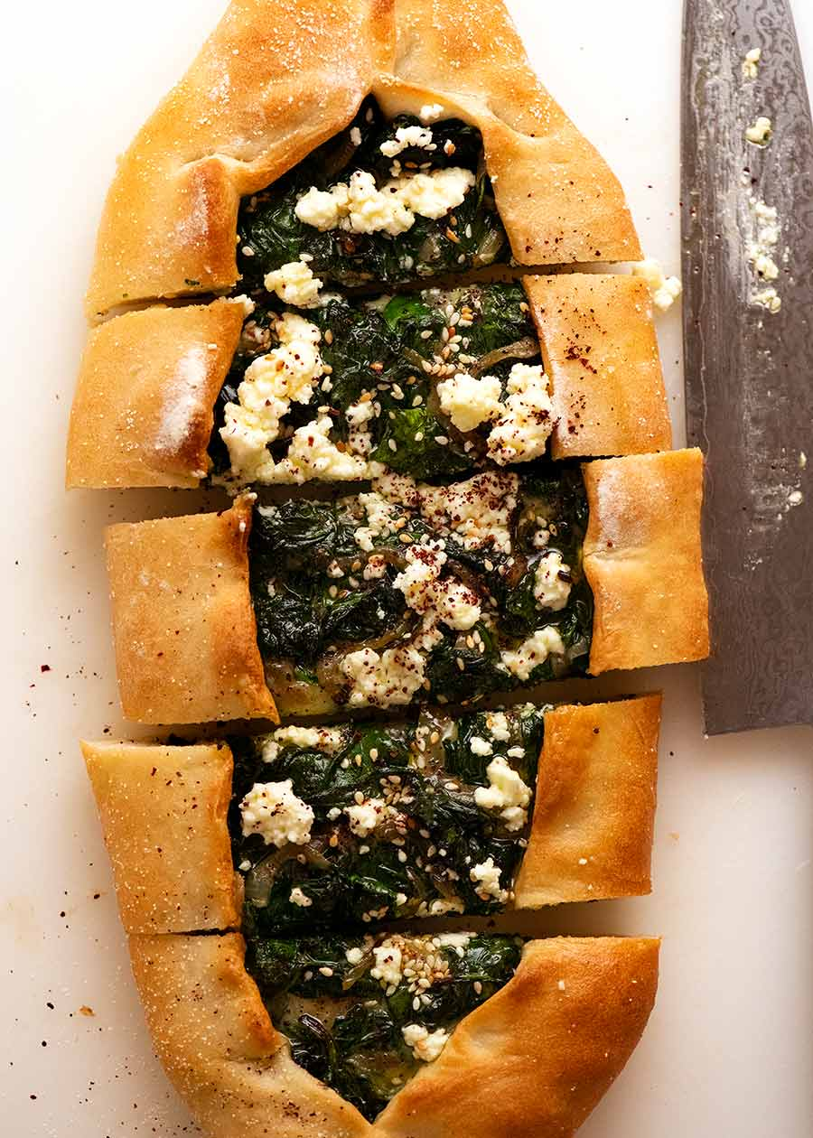 Overhead photo of Spinach Pide