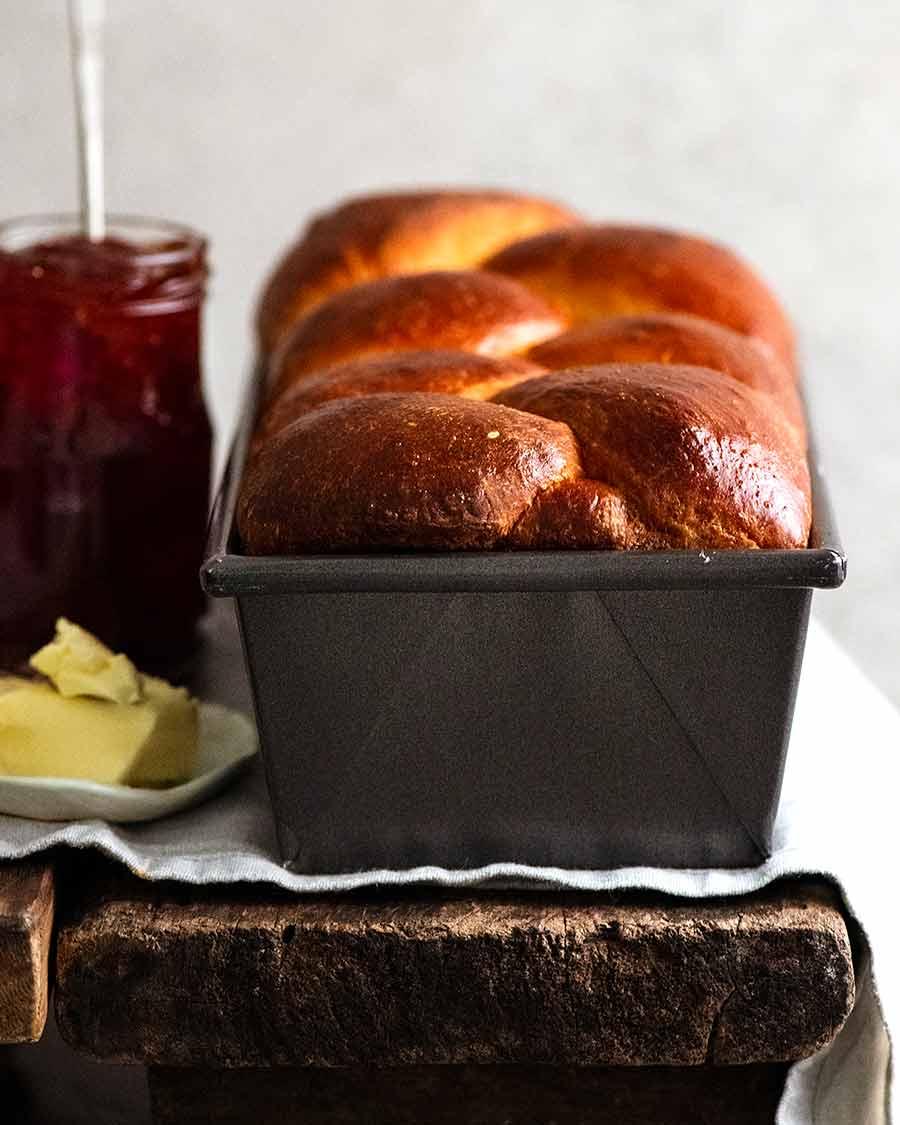 Freshly baked brioche in loaf pan