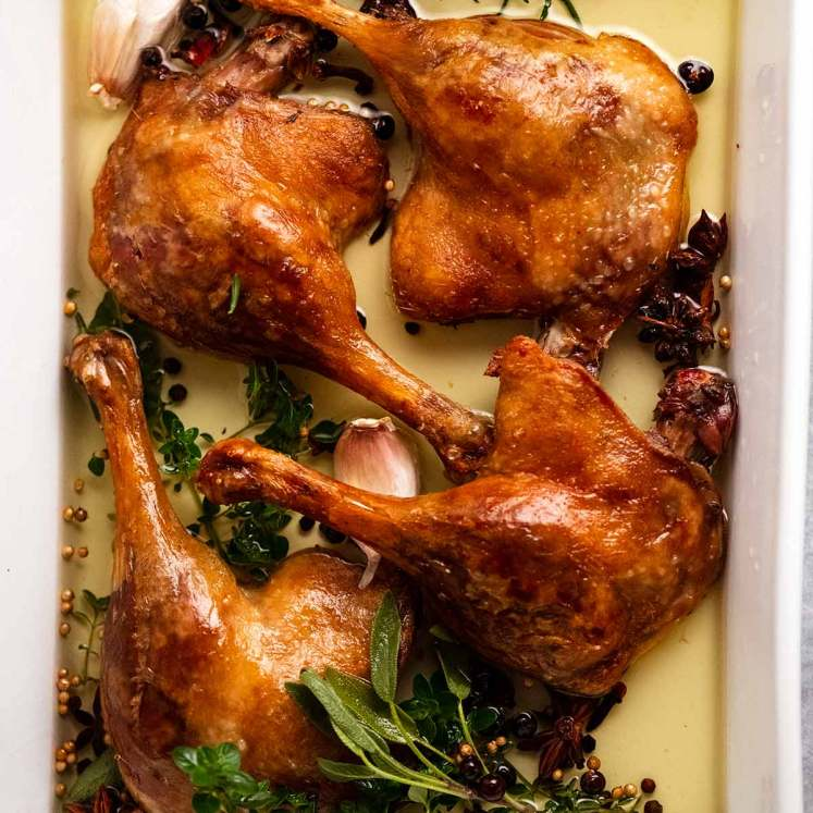 Duck Confit in a white baking dish