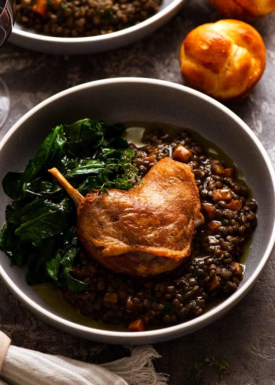 Duck Confit served on French Lentil Ragout