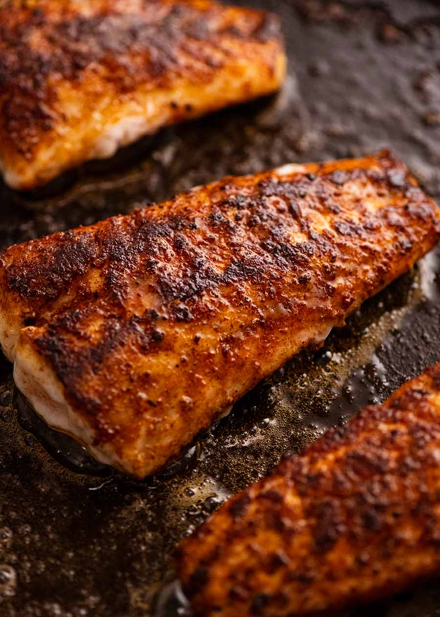 Close up of freshly cooked flathead fillets with Fish Seasoning - Spice Rub for Fish