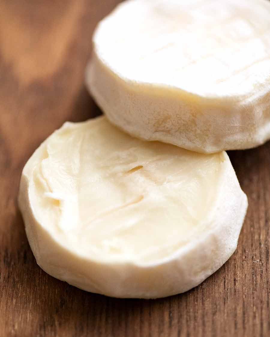 Showing the inside of ripened goat's cheese