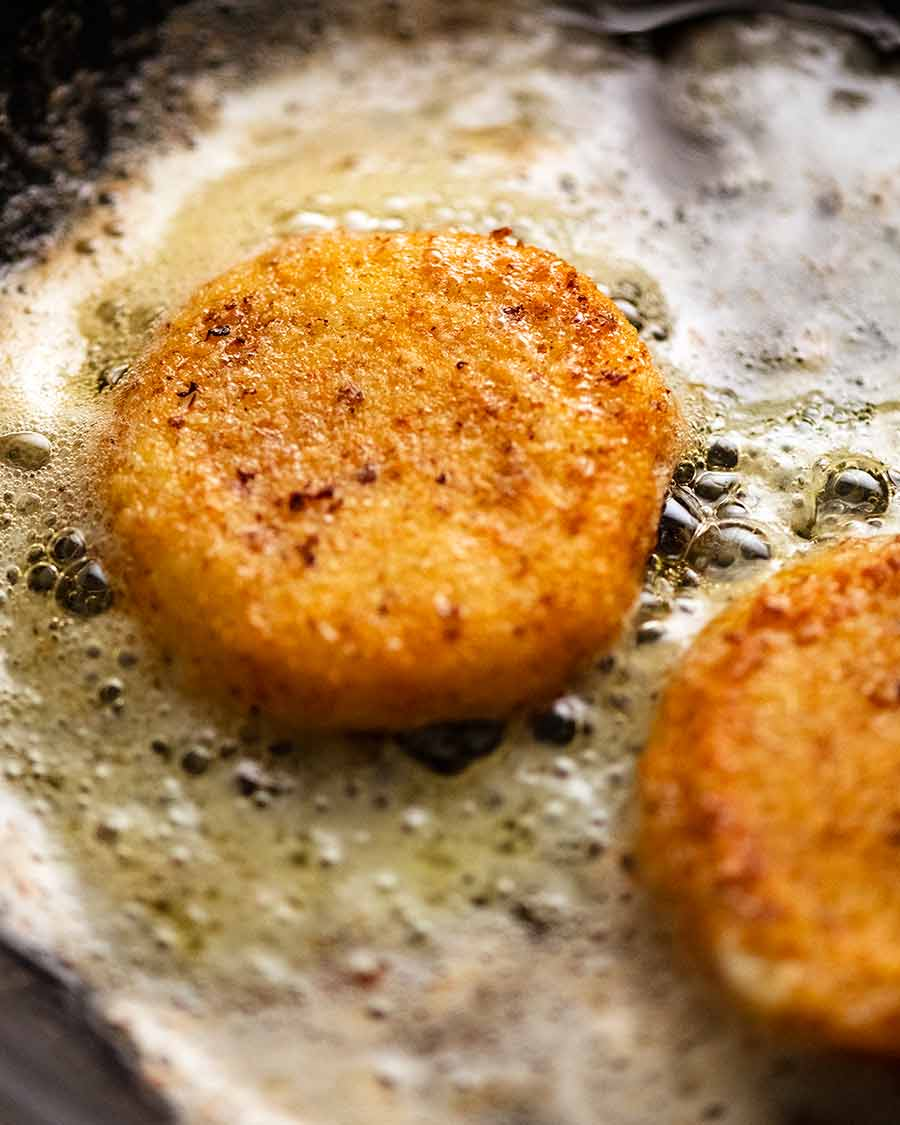 Pan fried golden goat's cheese