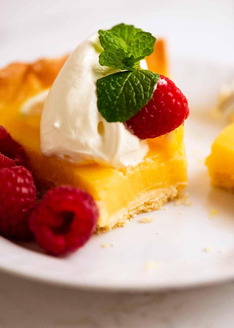 Close up of a slice of French Lemon Tart