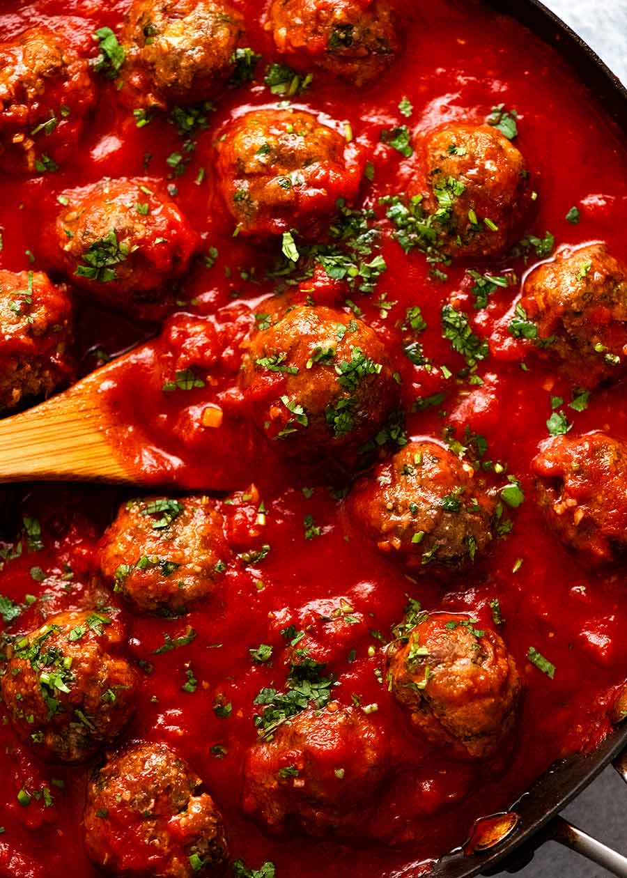 Overhead photo of Mexican Meatballs in a black skillet, ready to be served