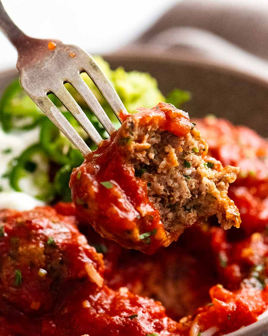 Showing the inside of Mexican Meatballs