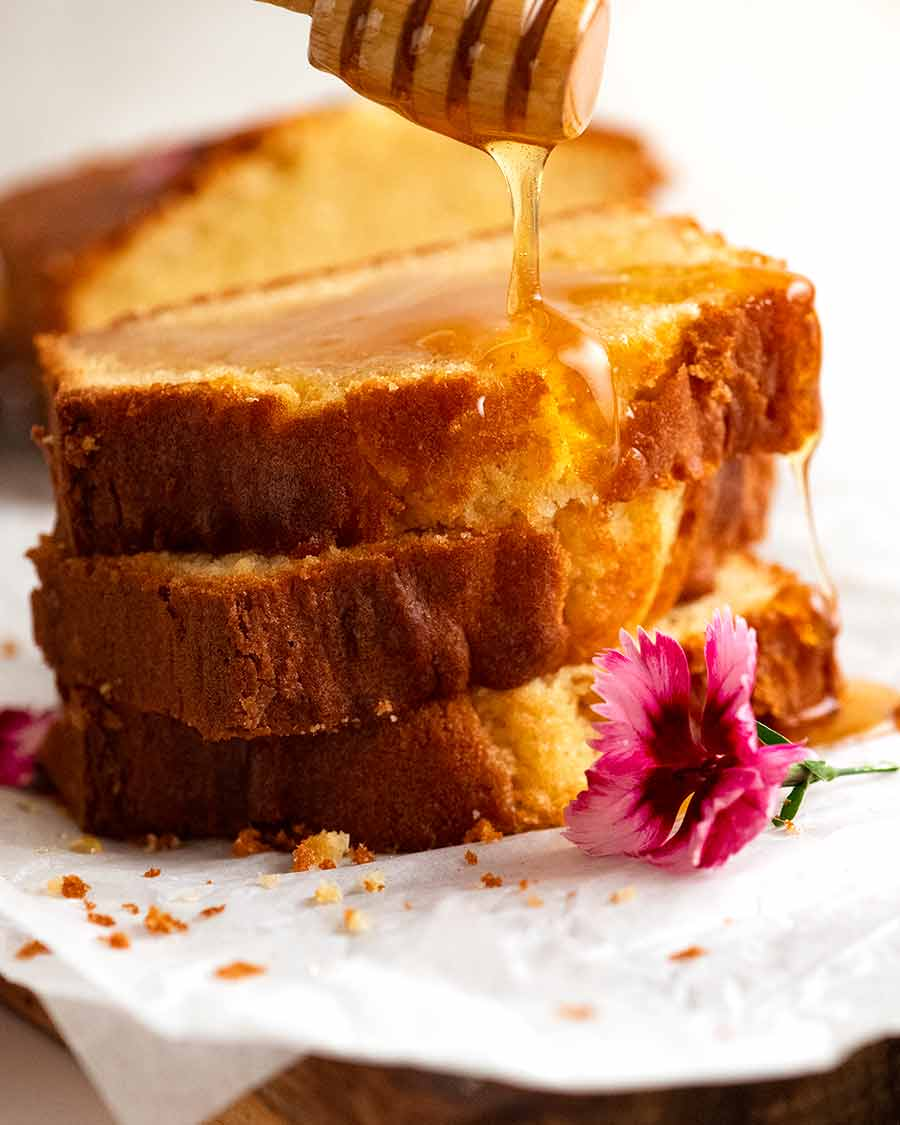 Drizzling honey over Pound Cake