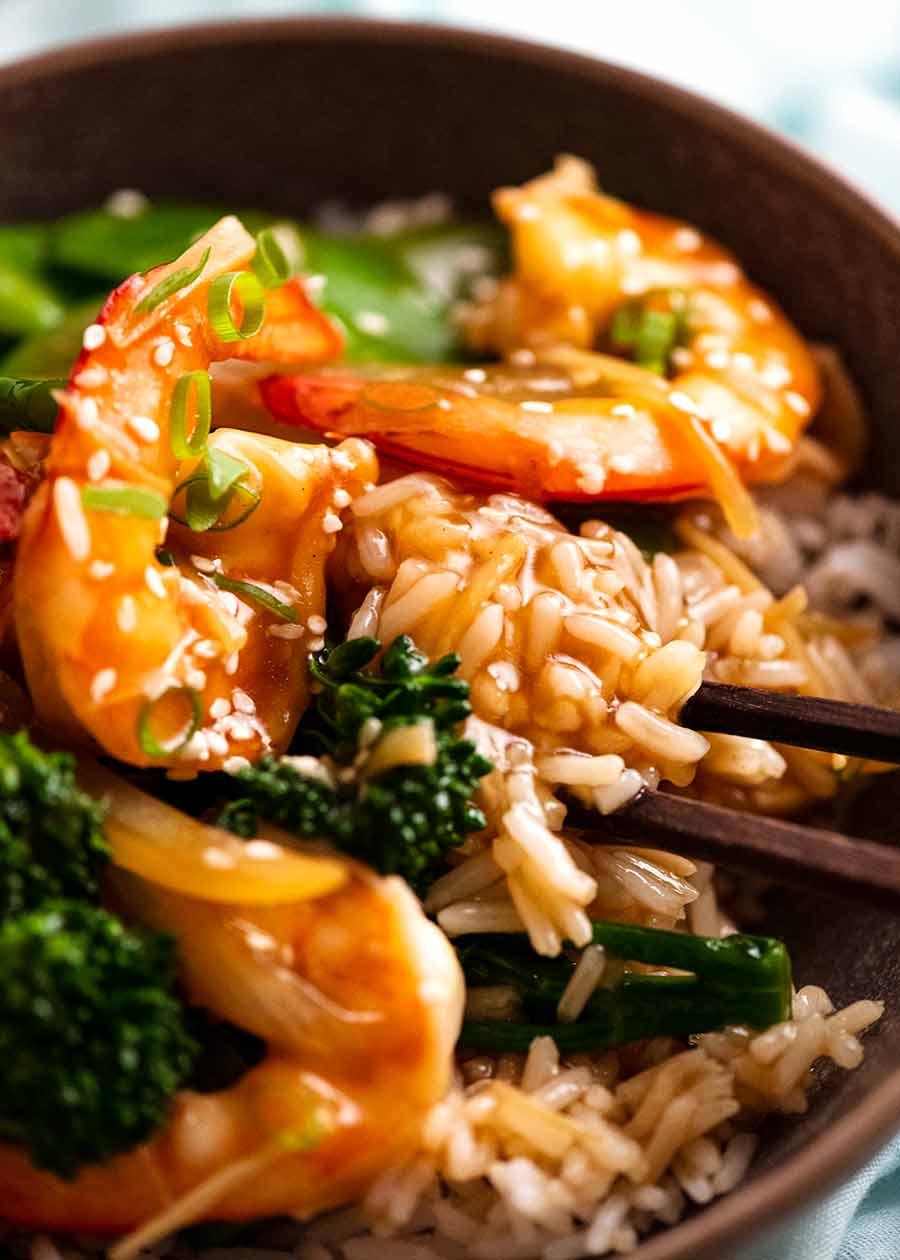 Close up of rice soaked with Prawn Stir Fry (Shrimp) sauce