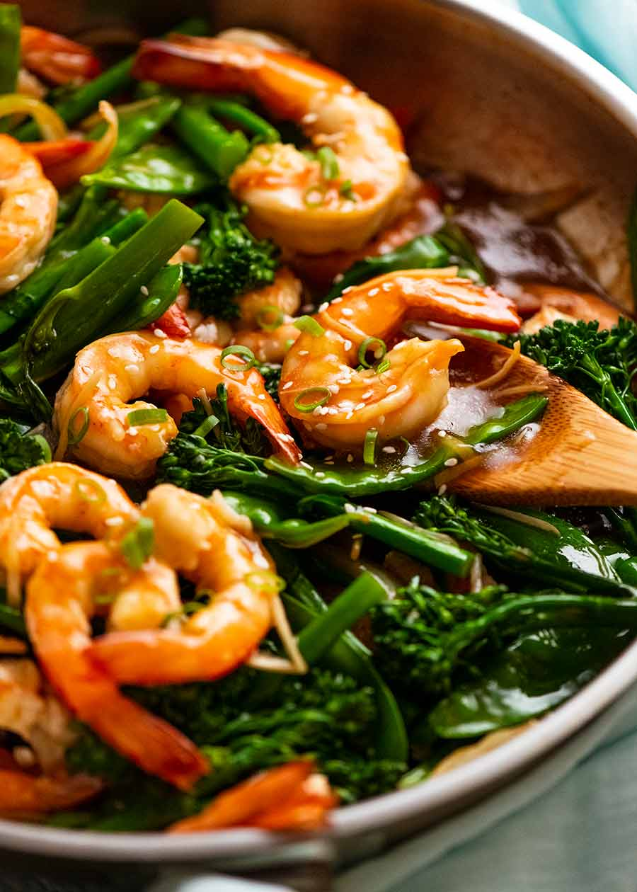 Close up photo of Prawn Stir Fry (Shrimp) in a skillet, fresh off the stove