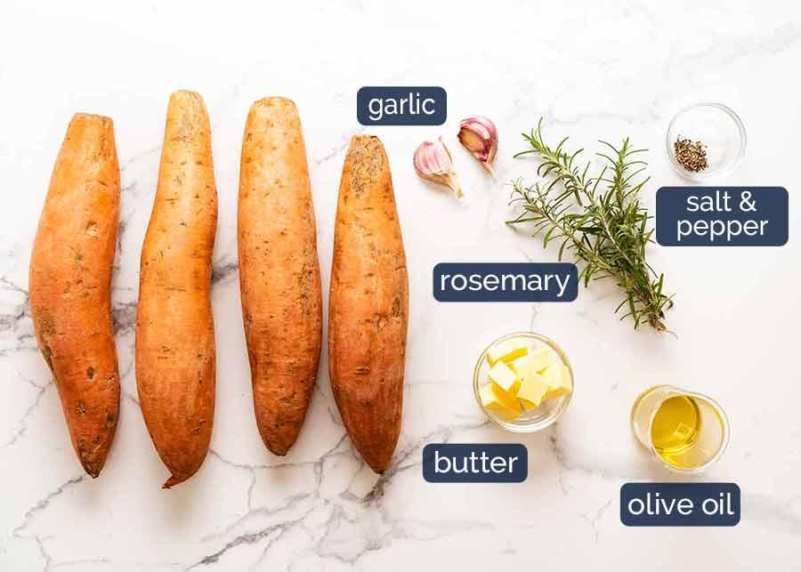 المكونات في خبز البطاطا الحلوة (طبق جانبي)