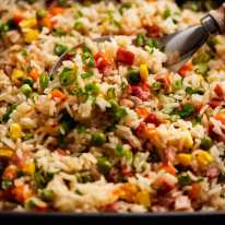 """Close up showing how fluffy the """"Dump 'n Bake"""" Fried Rice grain are"""