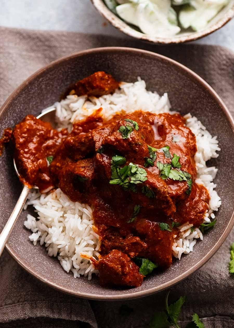 Vindaloo served over white rice
