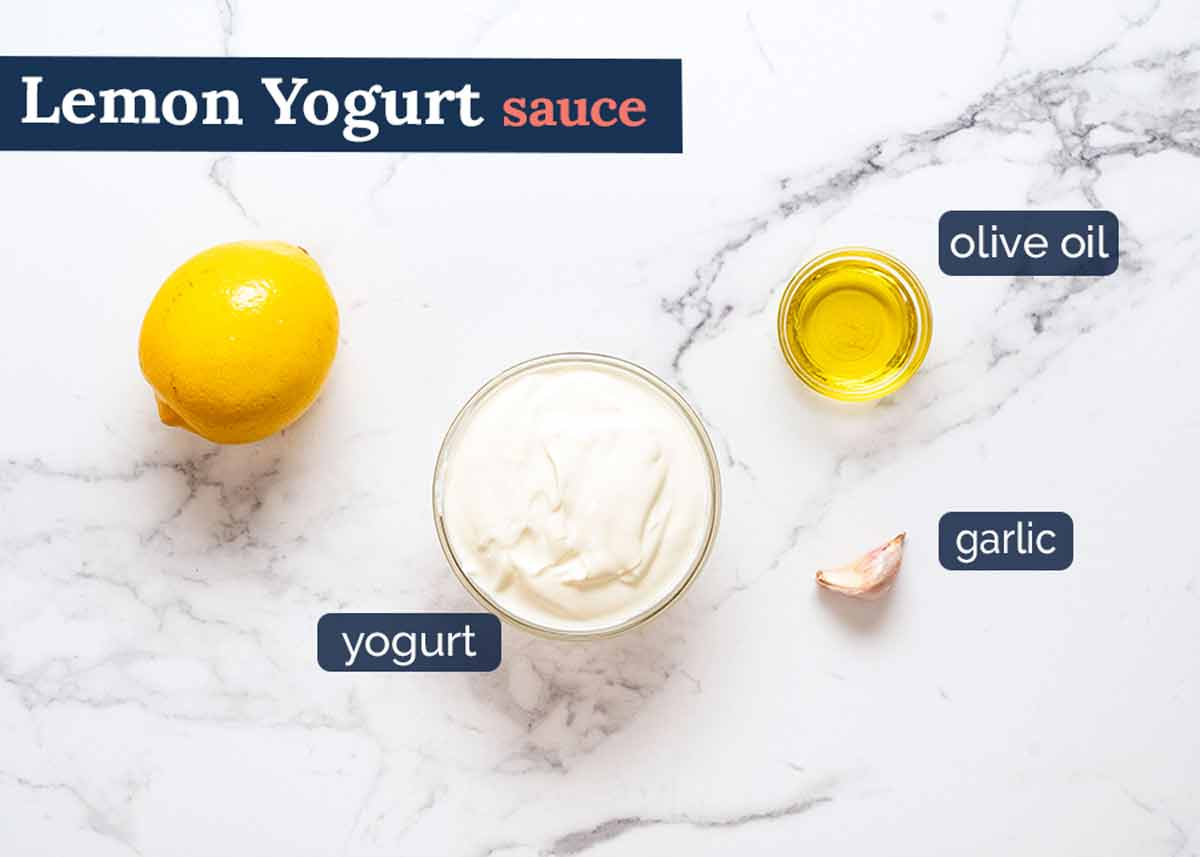 Lemon Yogurt Sauce ingredients for Lamb Borek