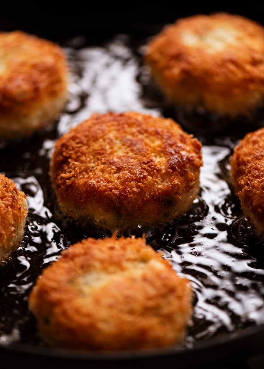Cooking Fish cakes in a skillet