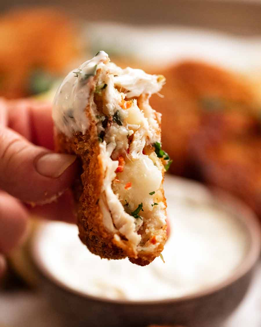 Showing the inside of Fish cakes
