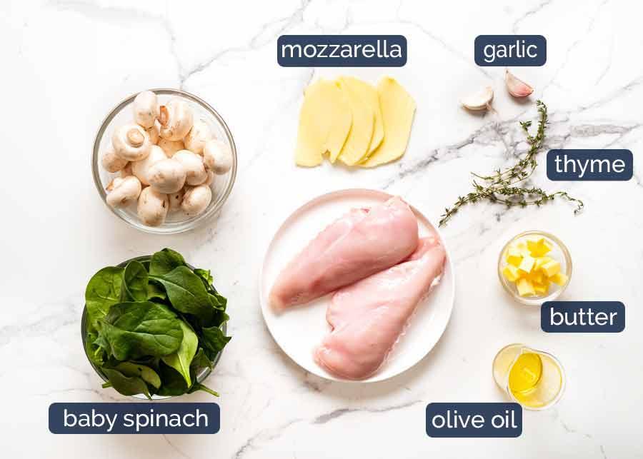 Mushroom Stuffed Chicken Breast ingredients