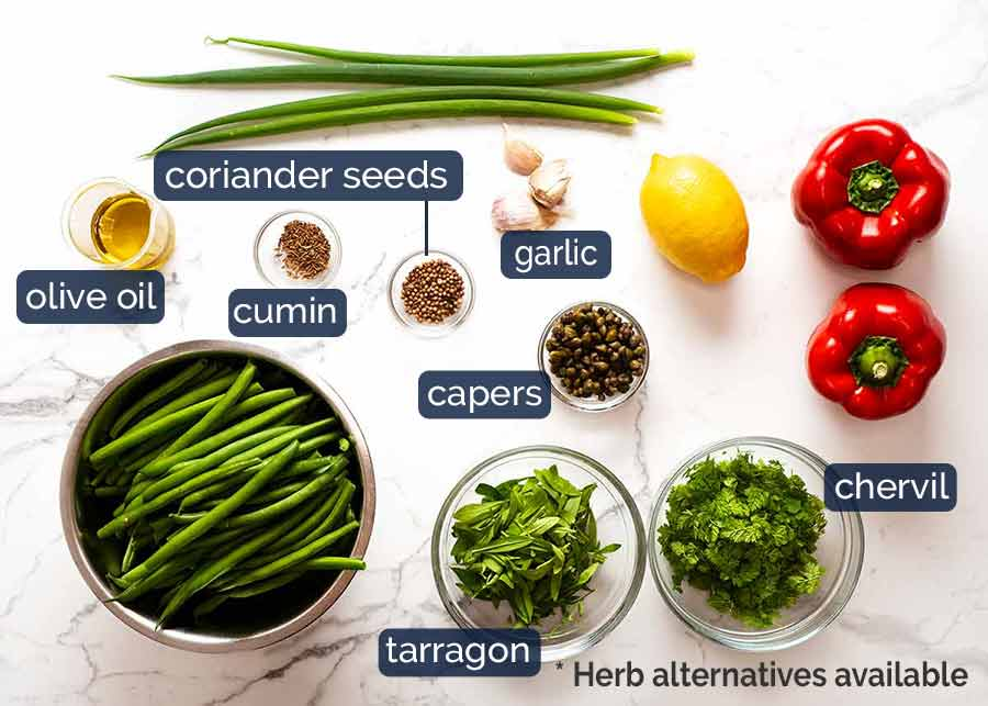 Ingredients required for Yotam Ottolenghi's Green Bean Salad