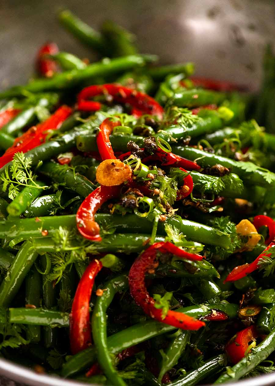 Close up of Yotam Ottolenghi's Green Bean Salad in a bowl