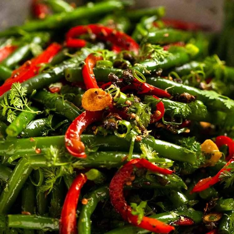 Close up of Yotam Ottolenghi's Green Bean Salad