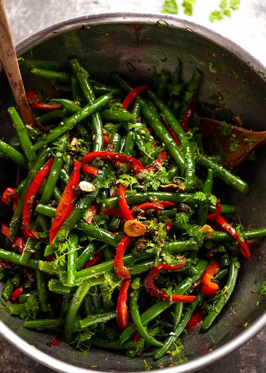 Bowl of Yotam Ottolenghi's Green Bean Salad