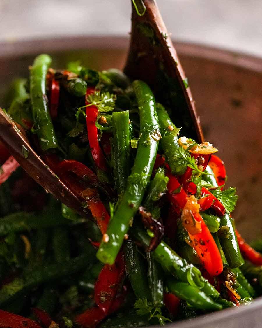 Serving Yotam Ottolenghi's Green Bean Salad