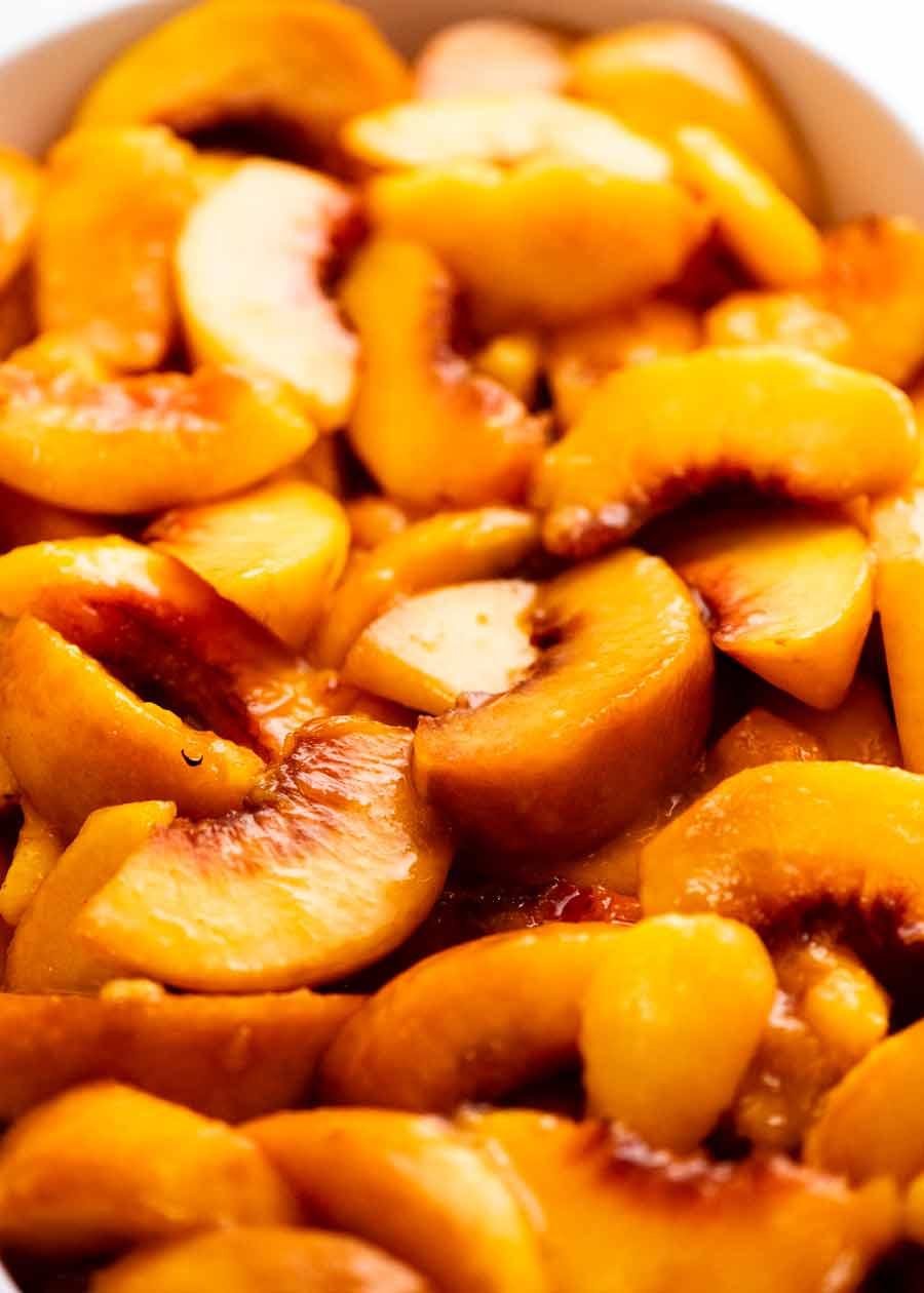 Fresh peach slices for Peach Cobbler