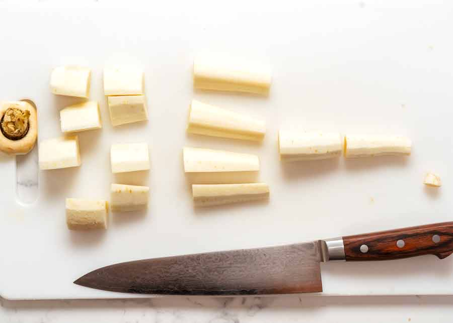 How to cut parsnip for roasting