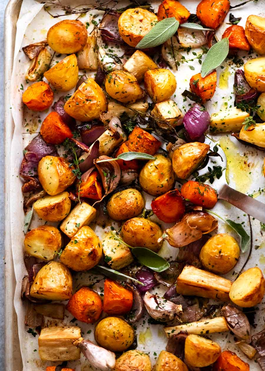 Tray of Roasted Vegetables fresh out of the oven