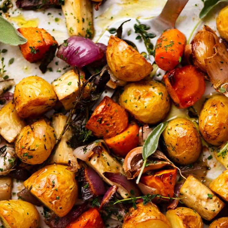 Close up of tray of Roasted Vegetables fresh out of the oven