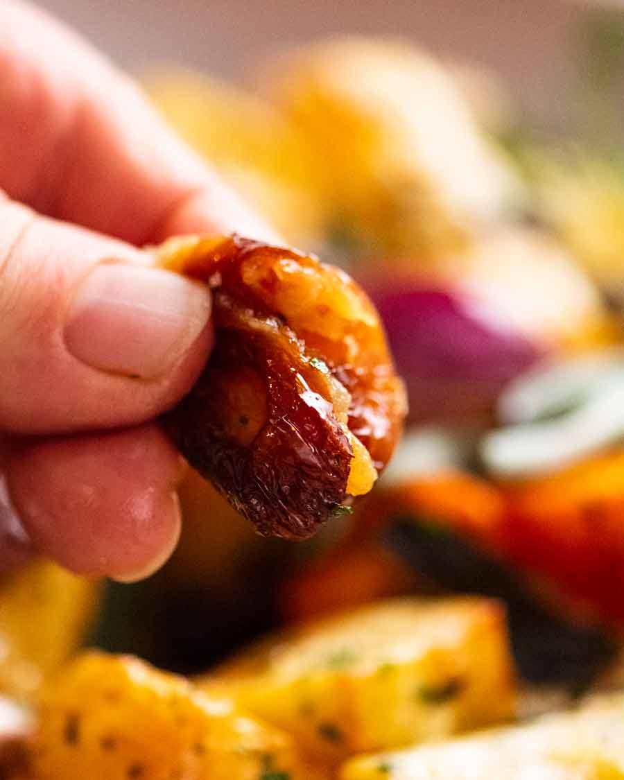 Close up photo of roasted garlic