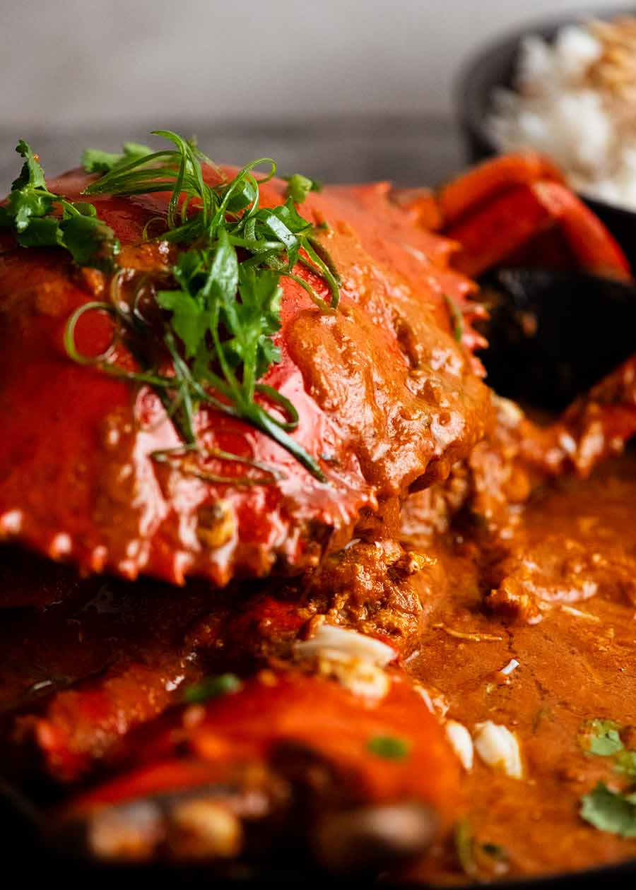 Close up photo of Singapore Chilli Crab