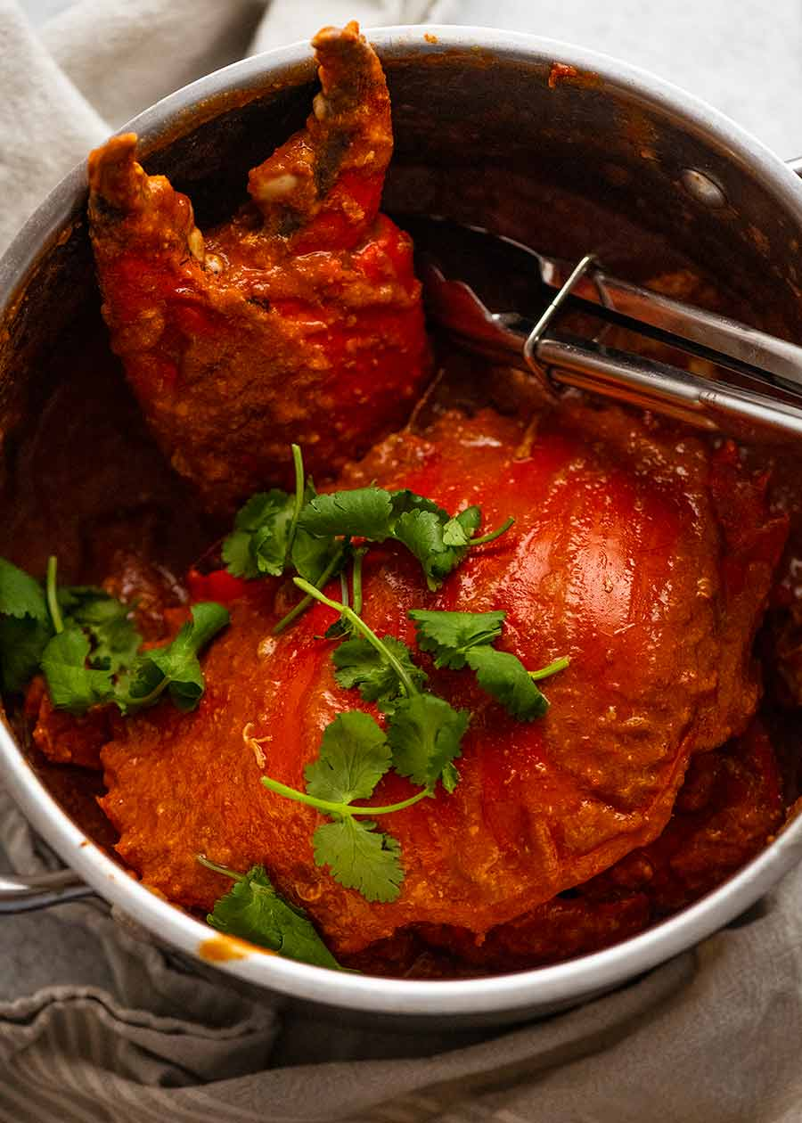 Singapore Chilli Crab in a pot fresh off the stove