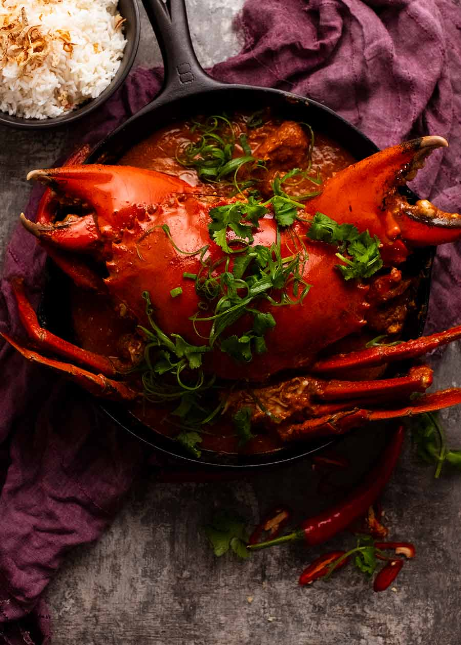 Freshly made Singapore Chilli Crab ready to be served