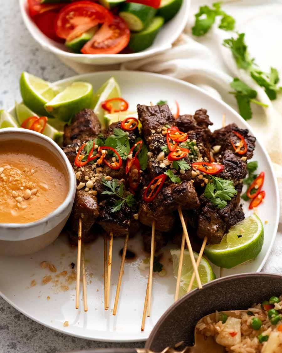 Freshly cooked Thai Beef Satay on a plate