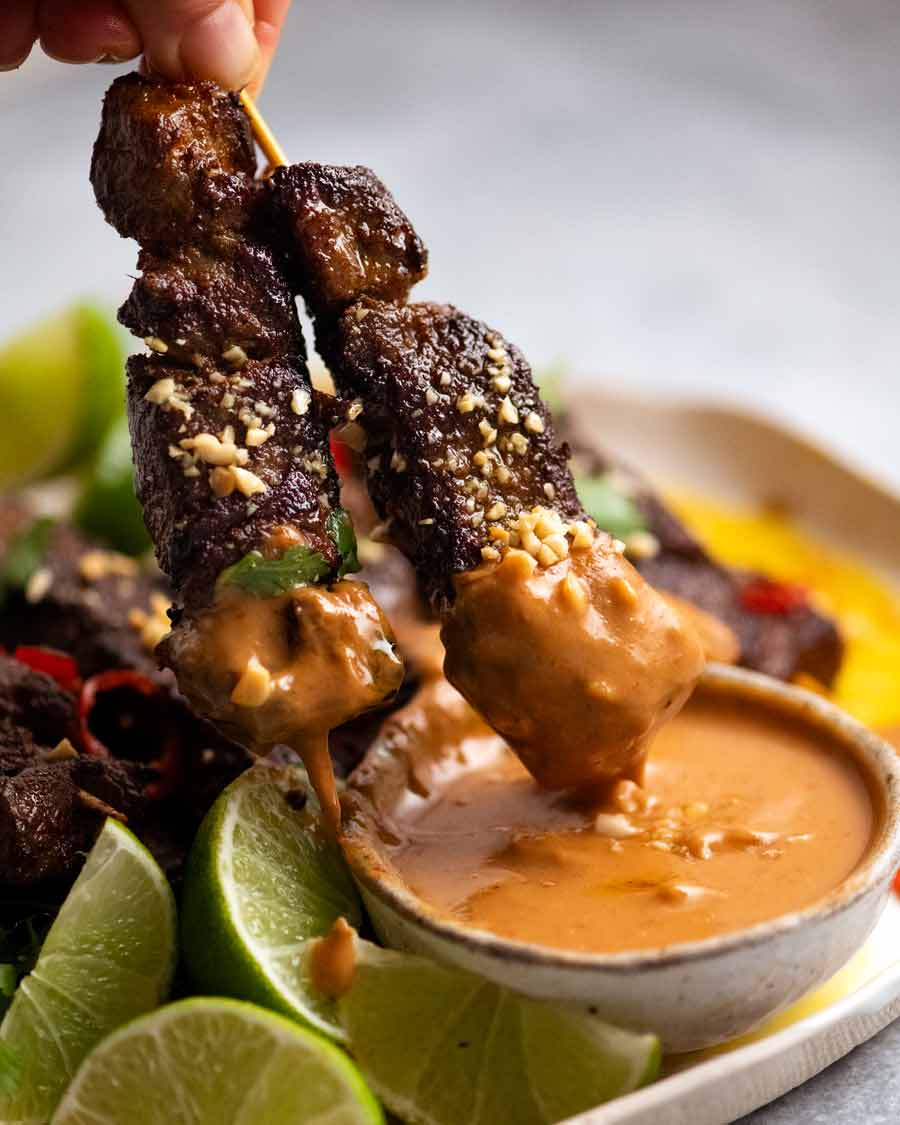 Thai Beef Satay Skewers with Peanut Sauce