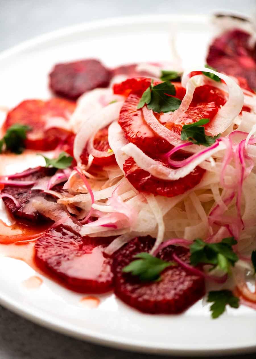 Close up of Blood Orange Salad