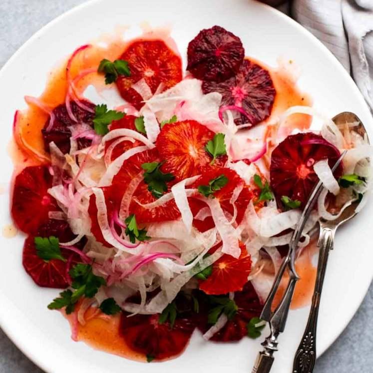 Overhead photo of Blood Orange Salad