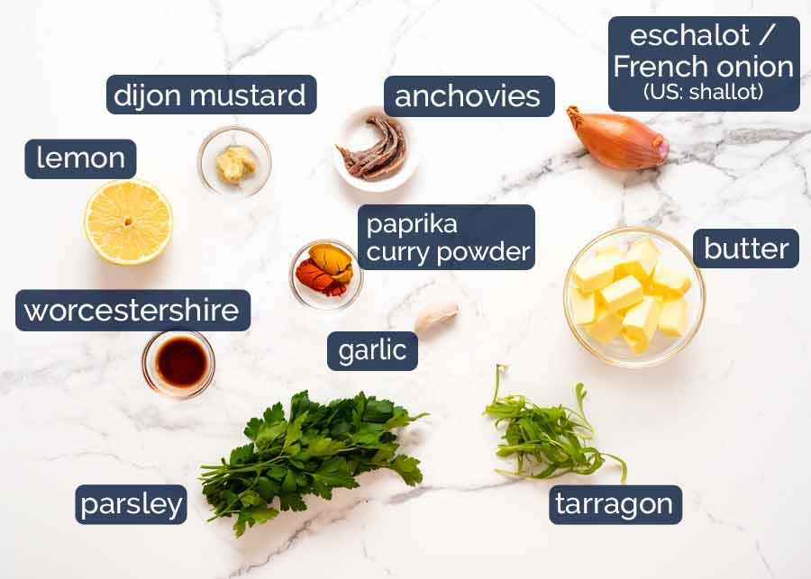 Ingredients in Cafe de Paris compound butter sauce for steak