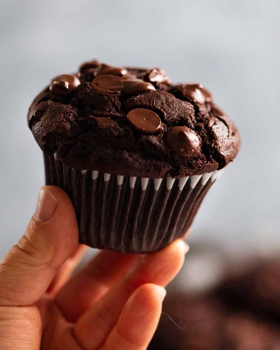 Hand holding Chocolate Muffin