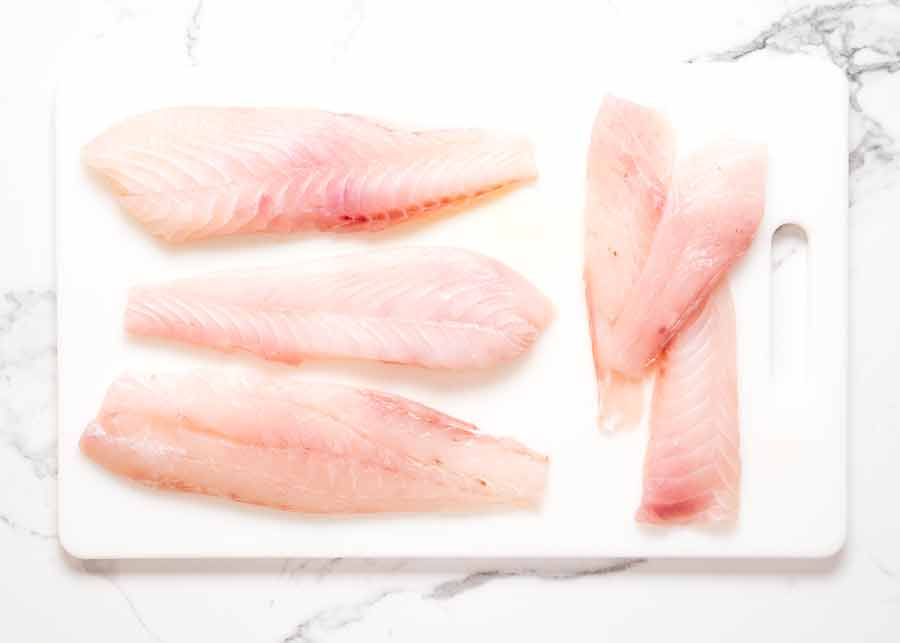 Raw snapper fillets ready to be cooked