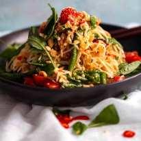 Green Papaya Salad (Thai) piled on a plate