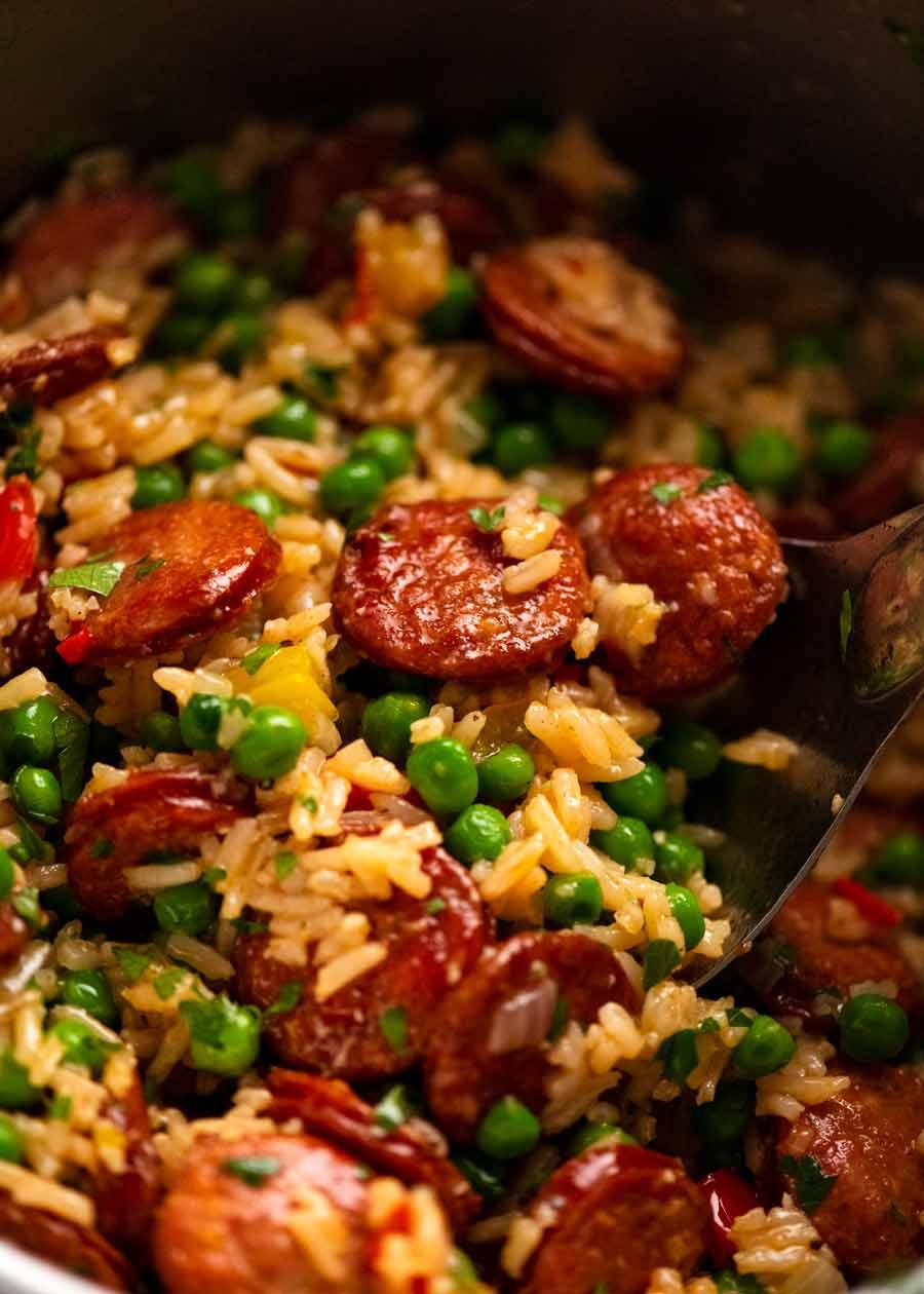 Close up of One Pot Smoked Sausage and Rice