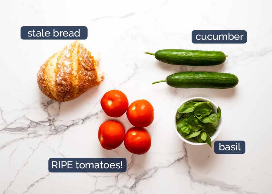 Ingredients for Panzanella - Italian tomato and bread salad